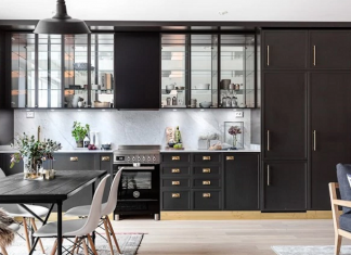 Dark Gray And Brass Details For Kitchen