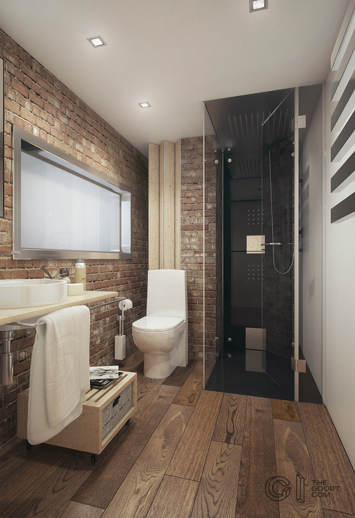Brick and wood bathroom design