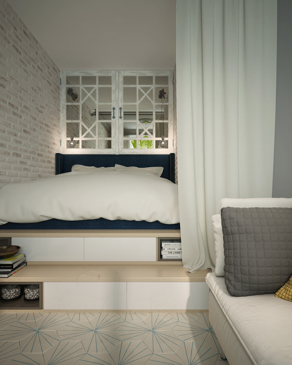Soft bedroom design for minimalist apartment