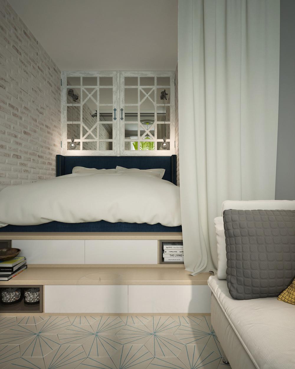 Soft bedroom design for minimalist apartment