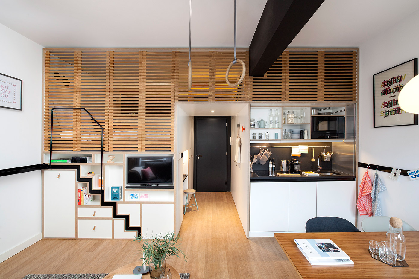 Lofted design for small apartment