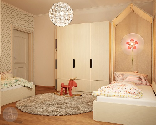 Soft And Pastel Colour For Twin Girls' Bedroom