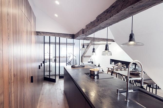 wood panel kitchen idea