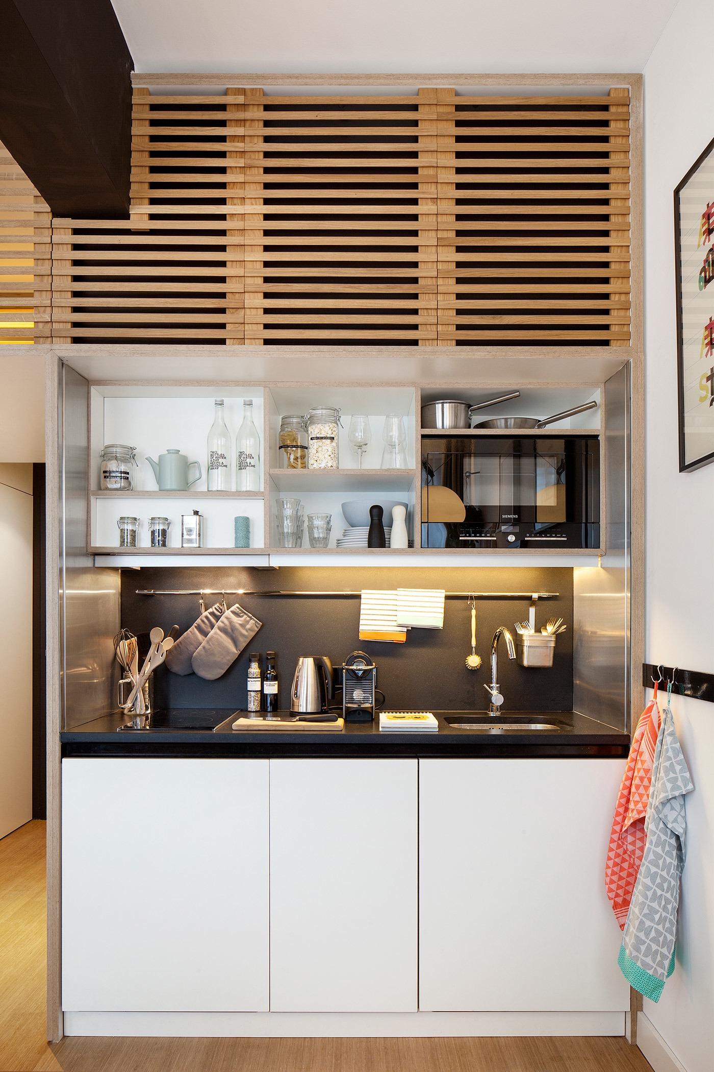 Wood slat cabinets idea