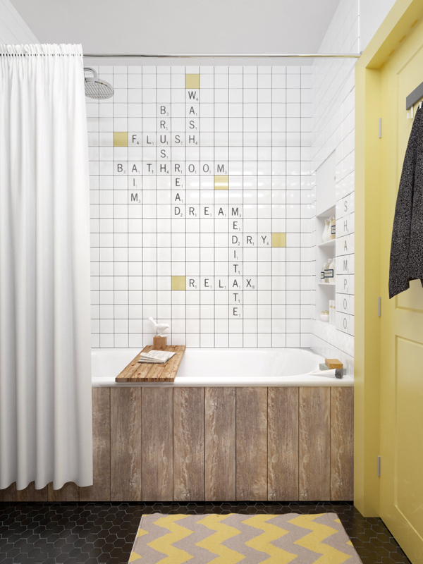 Unique scrabble letter tiles for bathroom