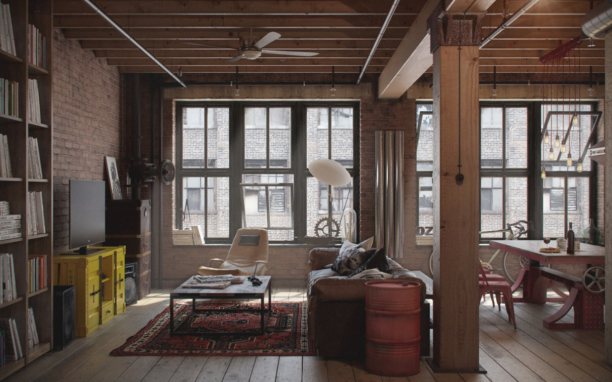 Stylish apartment design with urban theme