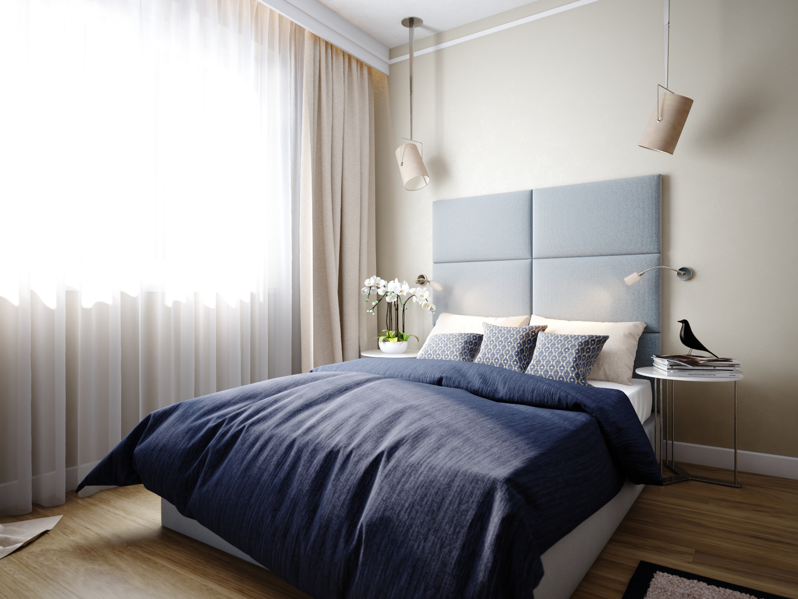 Bedroom design with blue color