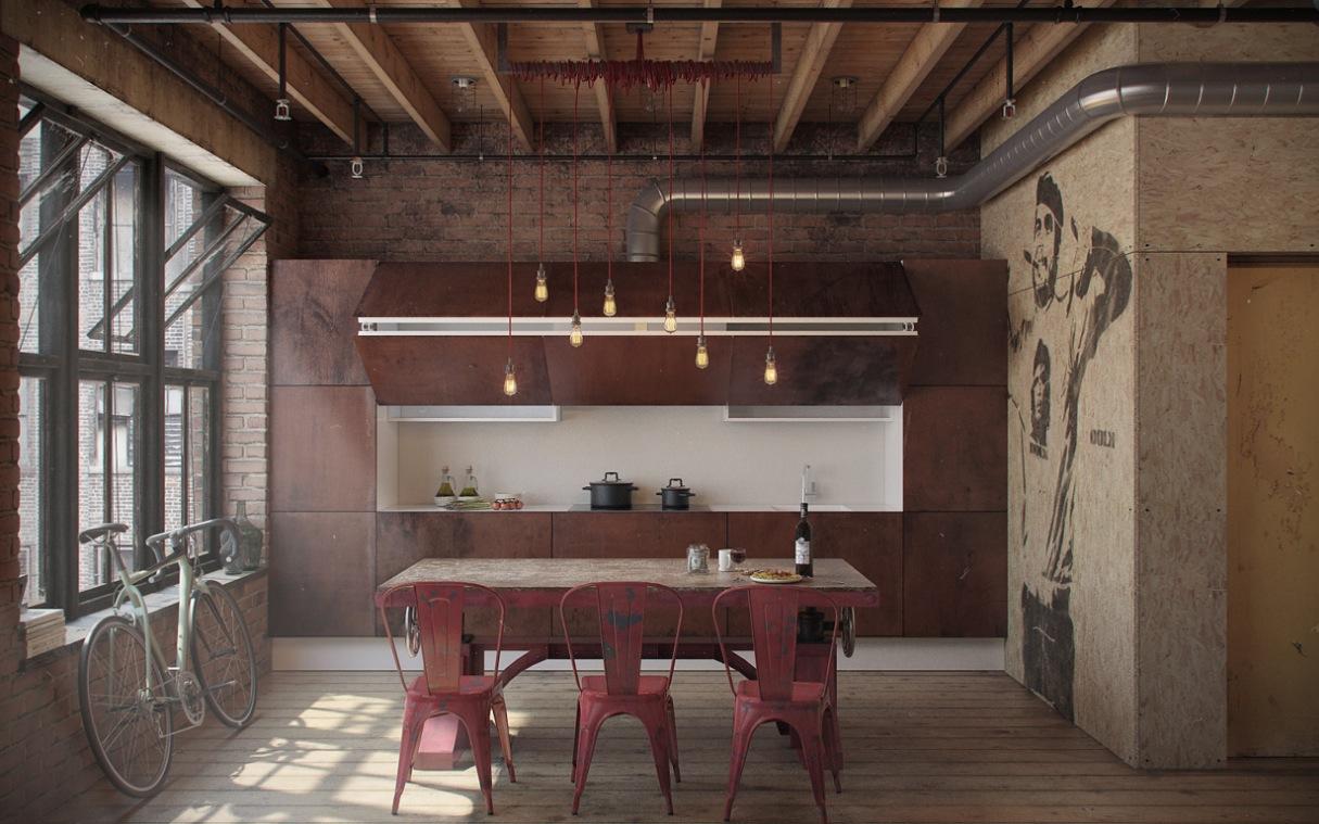 Modern kitchen with urban style