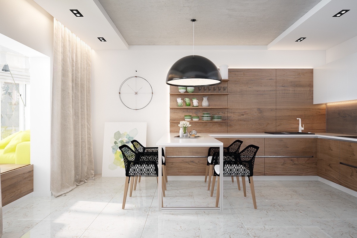 Artistic dining room with wooden influences