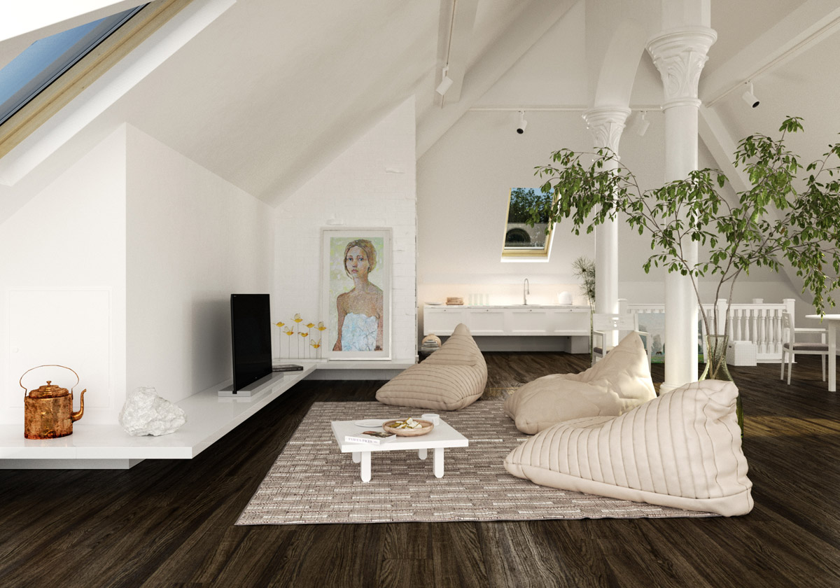 Living room design in the ceiling space