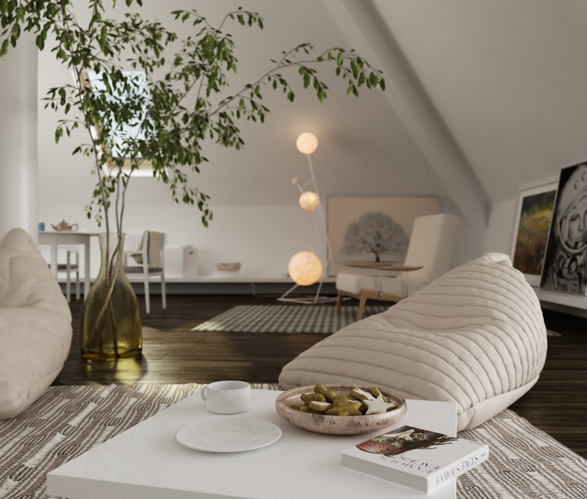 Living room design with artistic touch