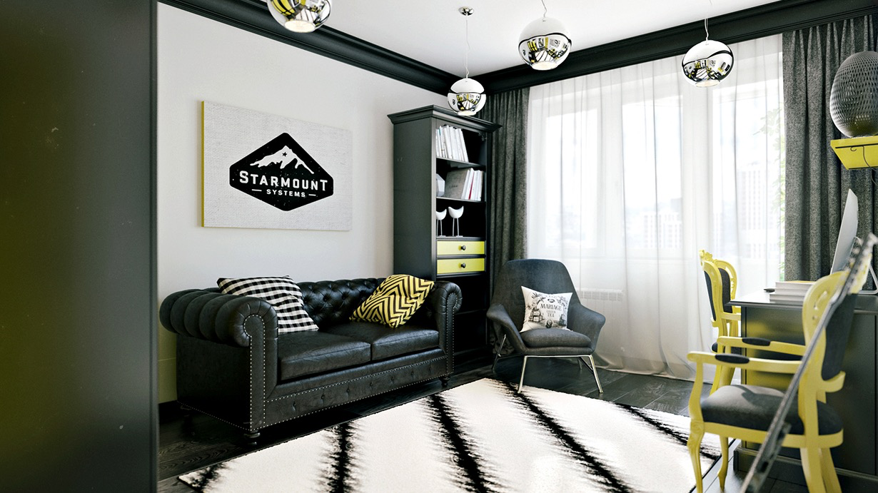 Black and yellow room decoration