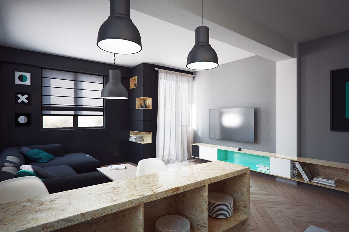 Black and green decoration for stylish living room