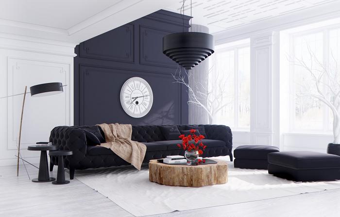 Black living room decoration