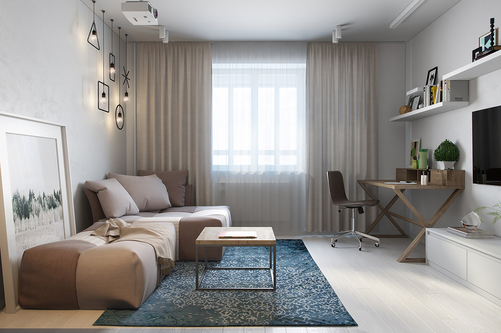 Blu and brown apartment concept