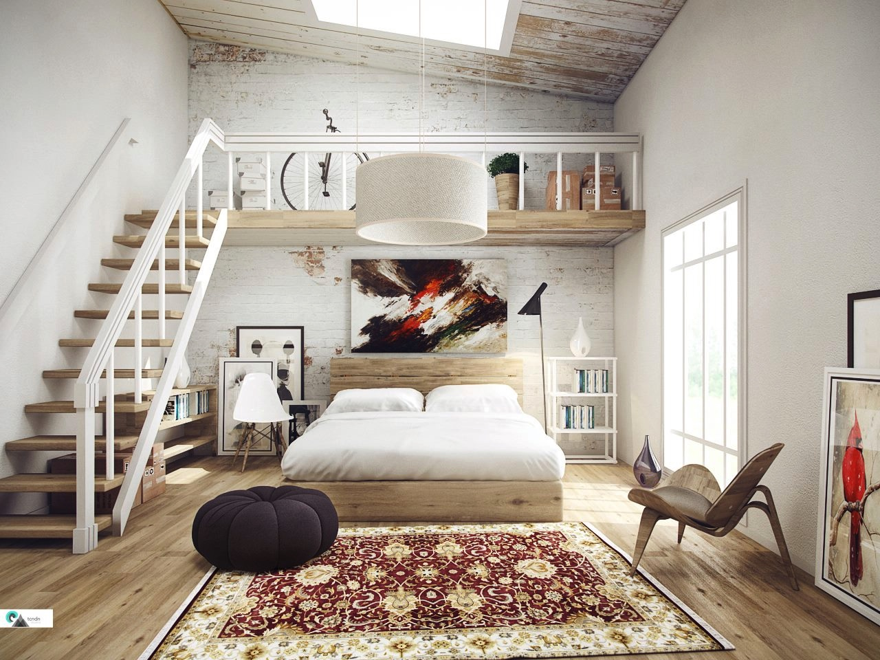 Creative loft bedroom design