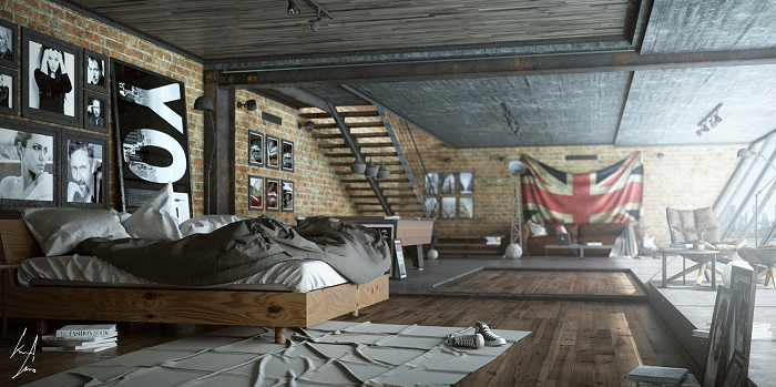 Masculine bedroom for men