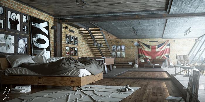Masculine bedroom for men