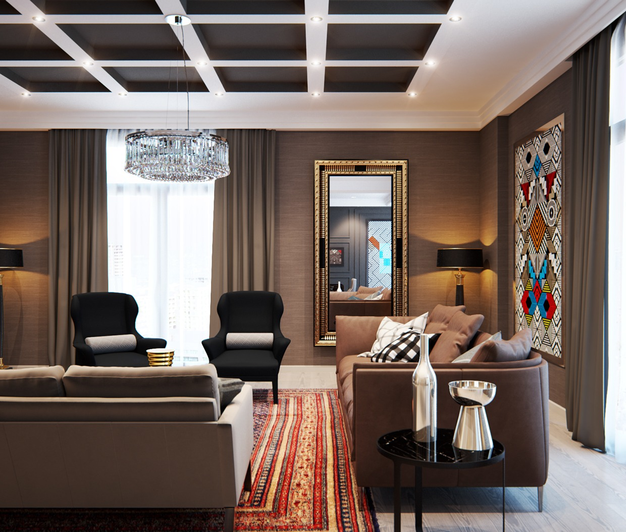 A modern interior home design which combining a classic for Modern apartment living room decor