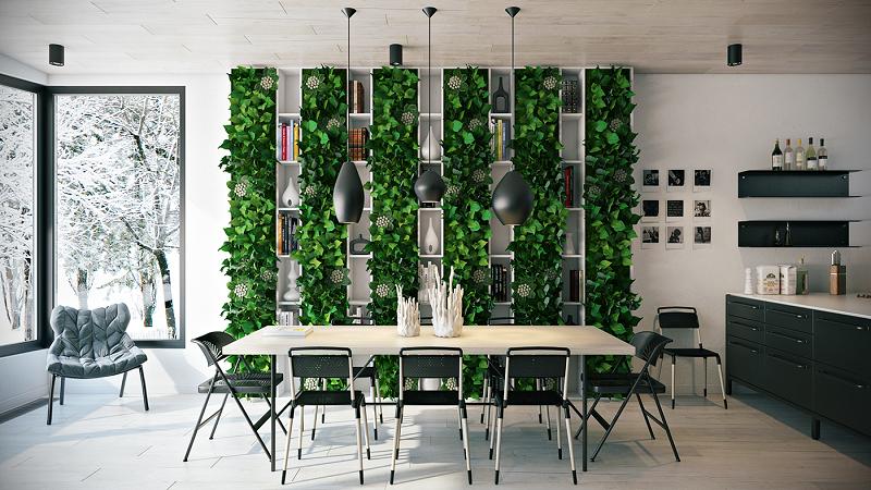 Natural dining room interior