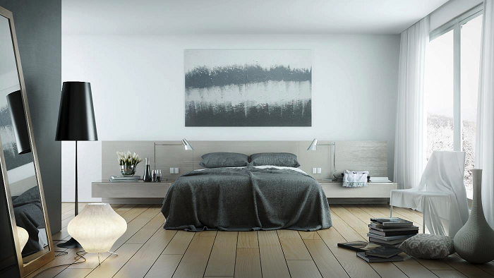 Gray theme for beautiful bedroom design