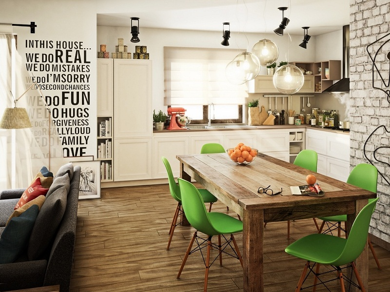 Stylish dining room for young couple