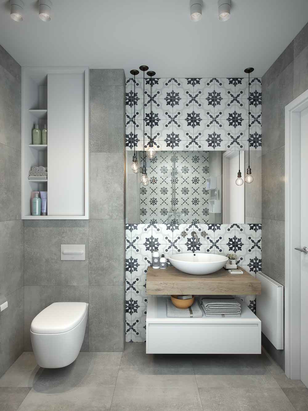 Grey and white bathroom theme