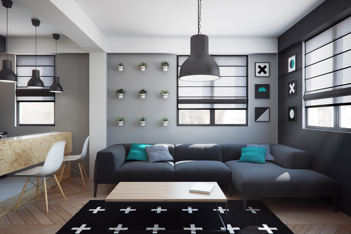 Stylish Living Room In The Dark For Black Addicted