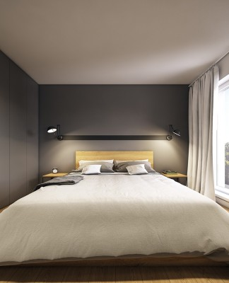 Minimalist gray bedroom