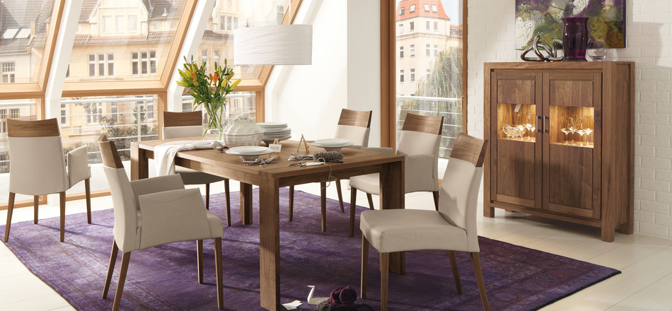 Dining table with modern and antique furnitures