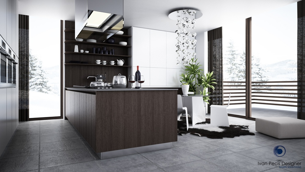 contemporary black and white kitchen design