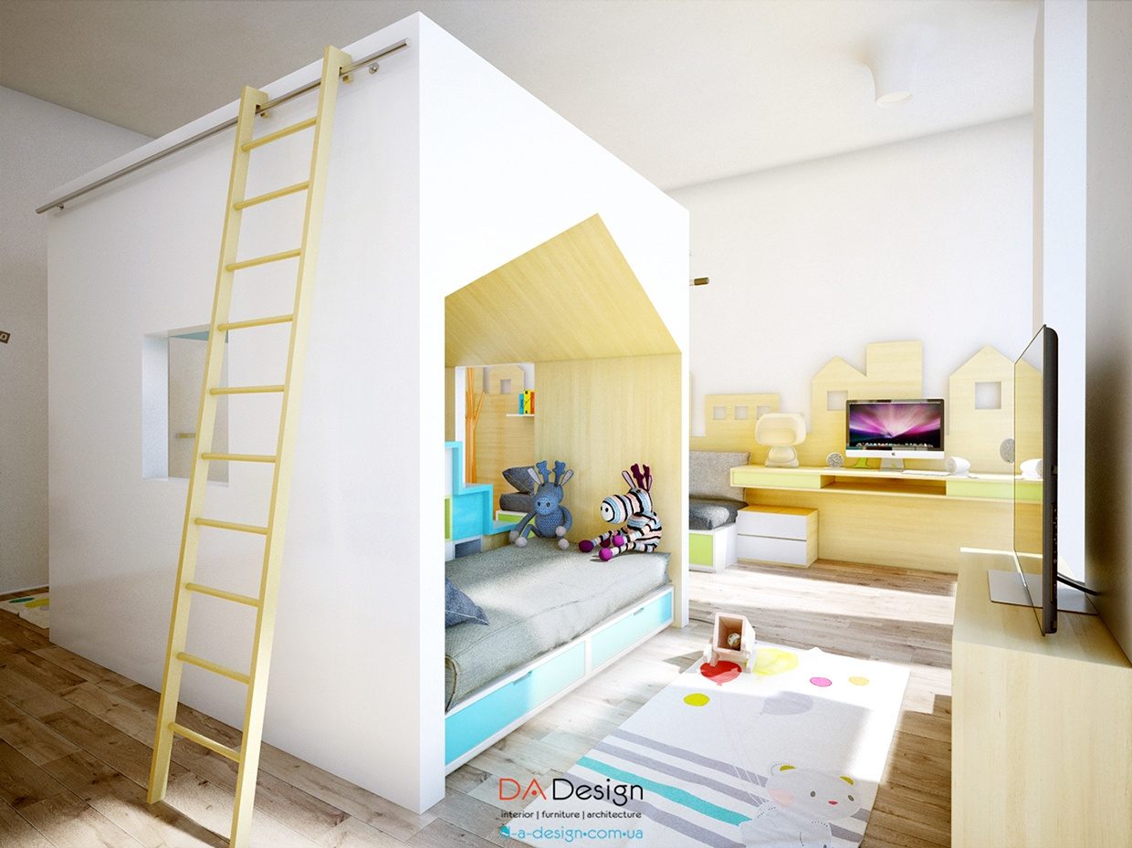 playful kids room with lots of fun space and cute accents. Black Bedroom Furniture Sets. Home Design Ideas