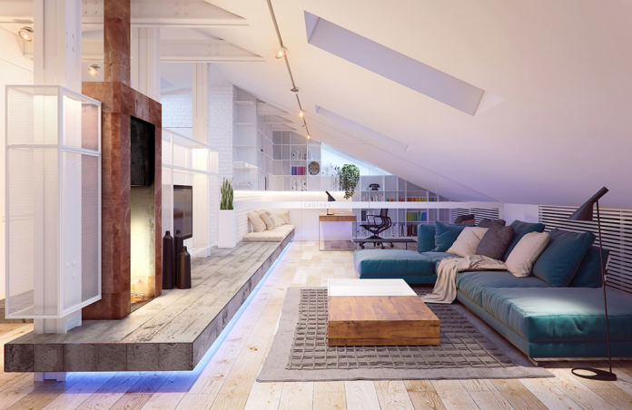 Amazing living room design i the attic