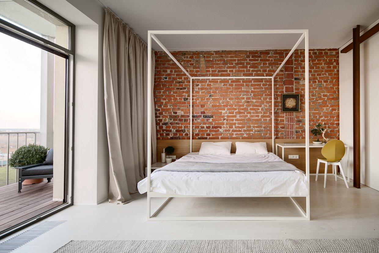 Brick bedroom with private balcony