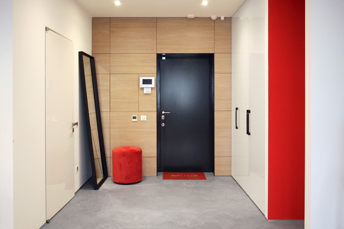 entryway ideas with red and white theme
