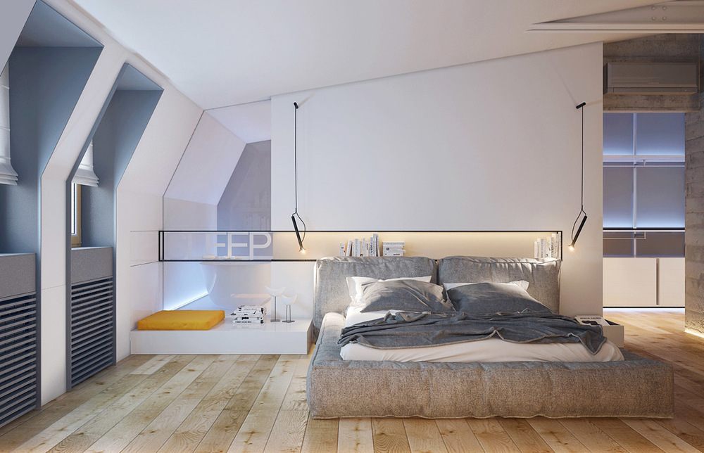 The attic bedroom design for masculine men 39 s retreat for Bed room simple design