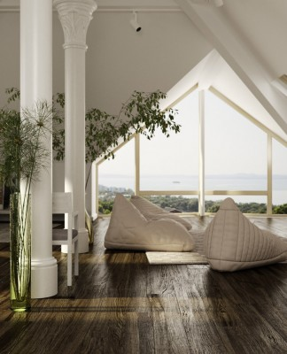 How to use ceiling space for making a cozy living room