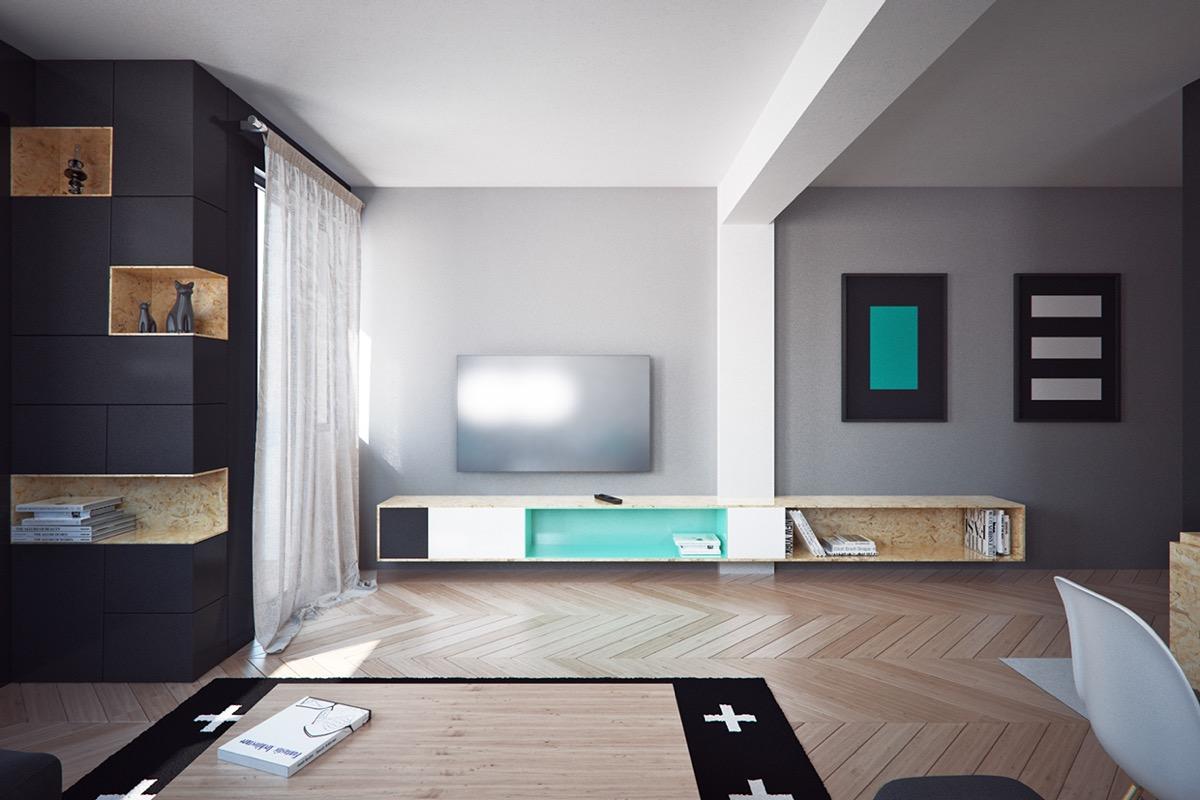 Minimalist living room with black shades
