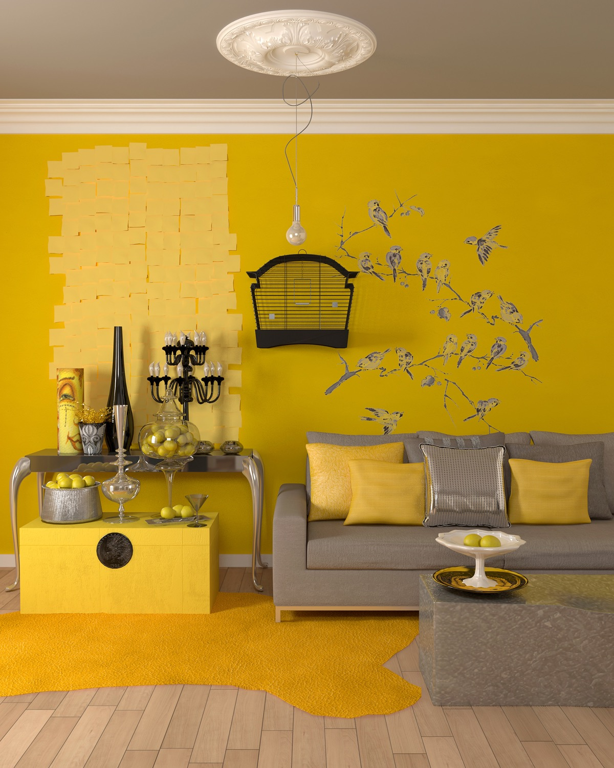 Yellow room decoration