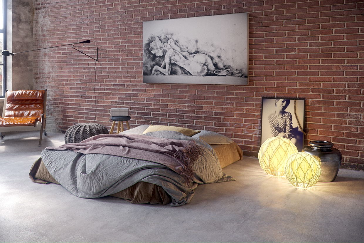 Unique and artistic bedroom design with simple furniture - Mens bedroom wall art ...