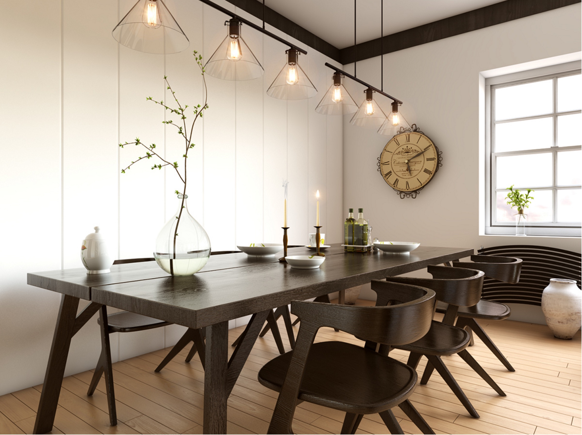 White and dark dining room ideas