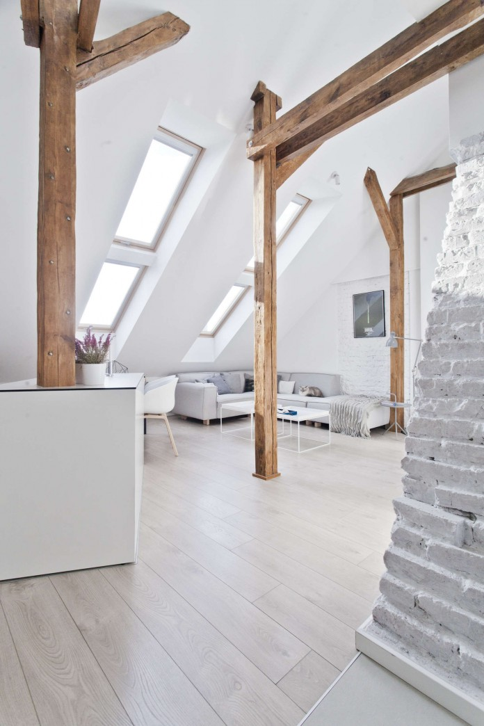 Cool apartment design with wooden element