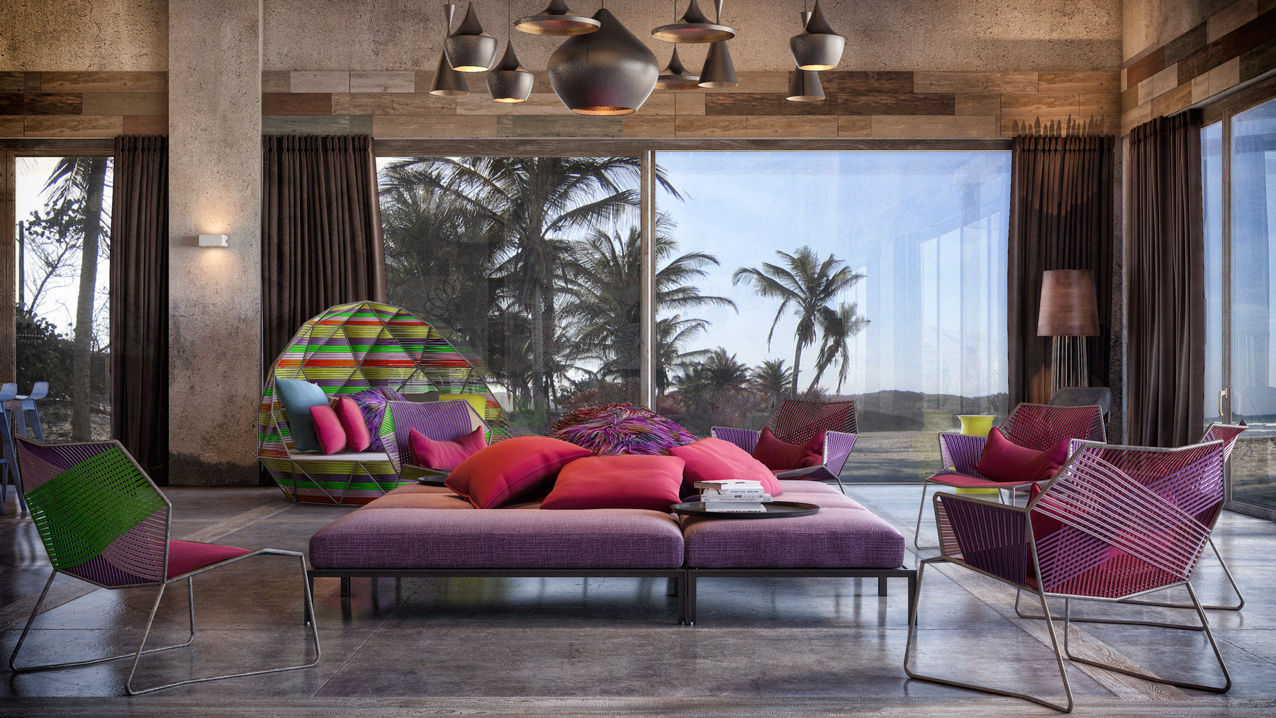create a romantic feel by using a unique living room design