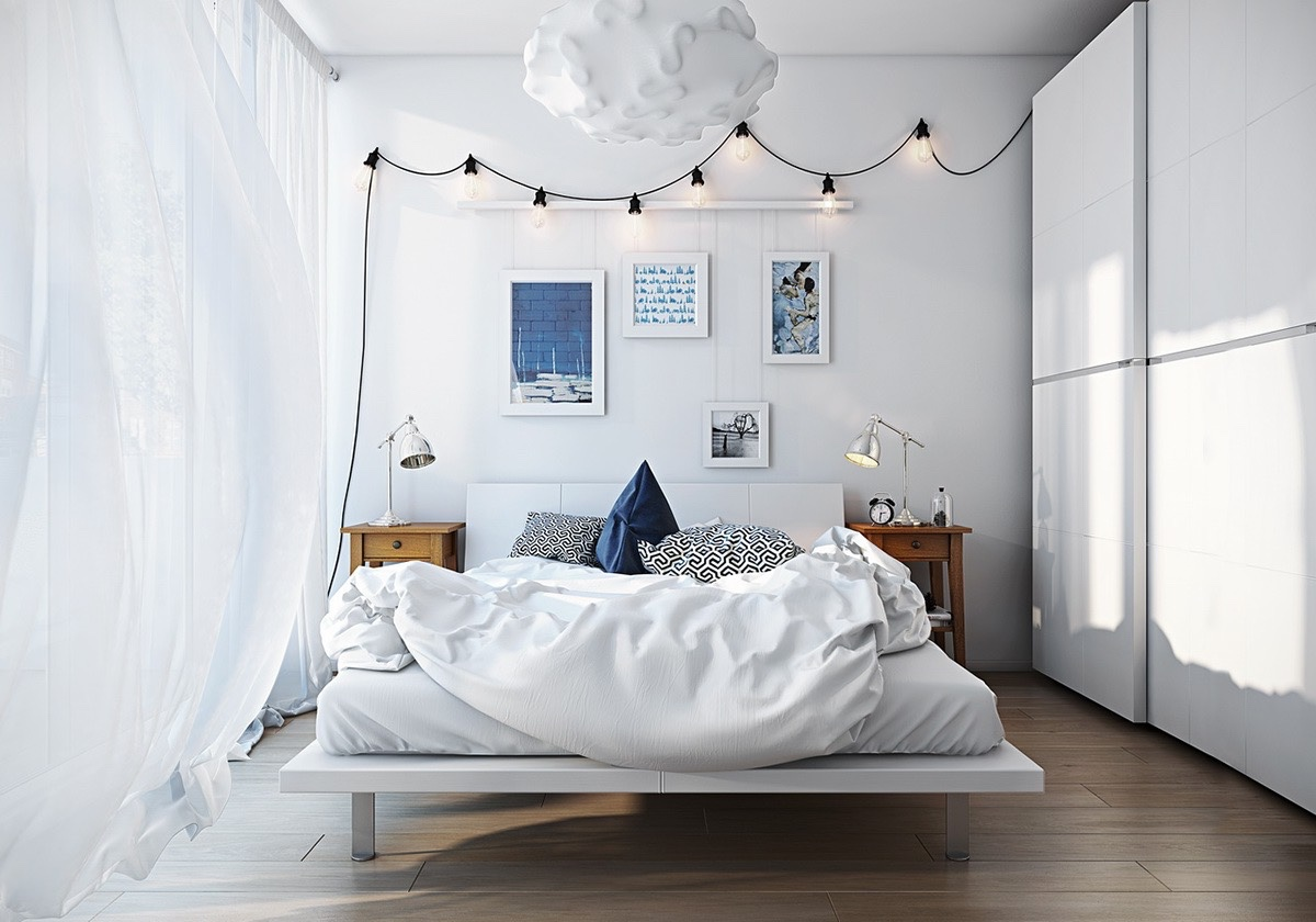 Scandinavian bedroom design for woman with a white color for Bed rooms design