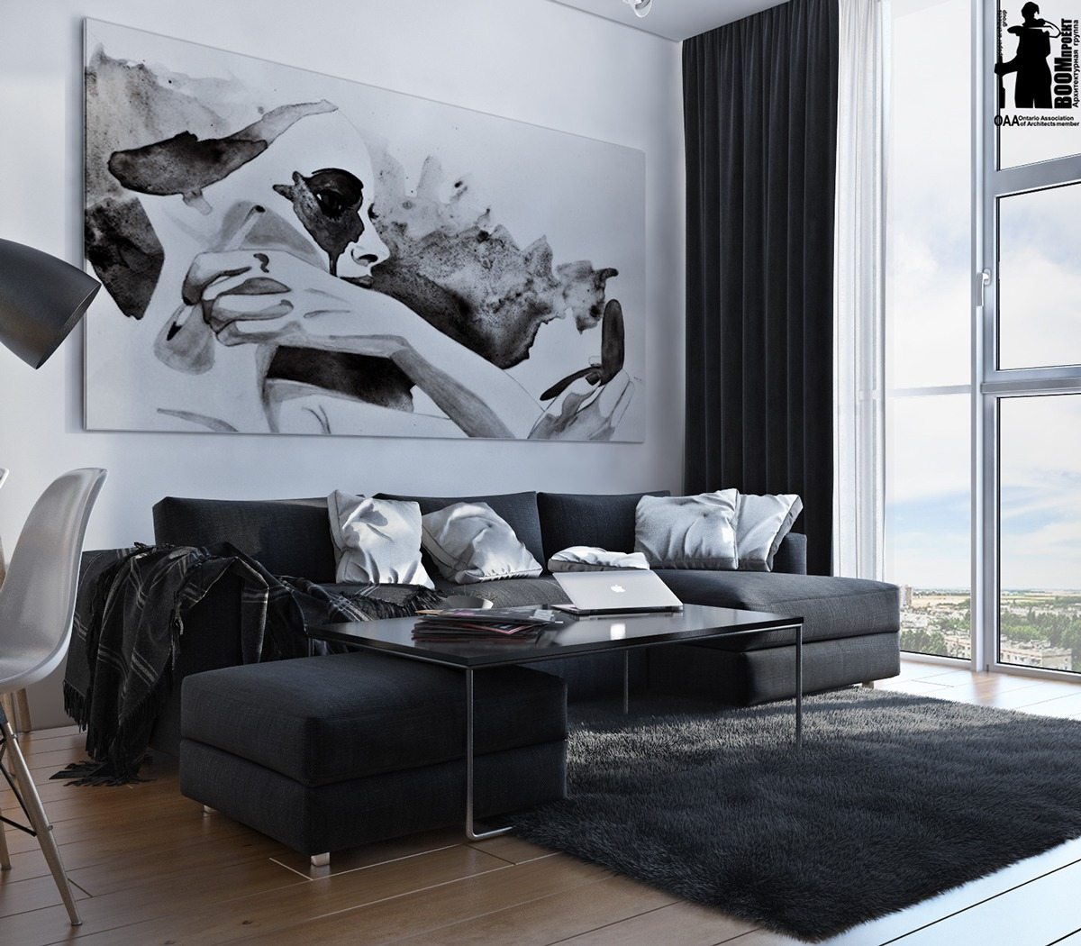 Monochromatic living room colors idea combined with wooden for Black and white interior designs
