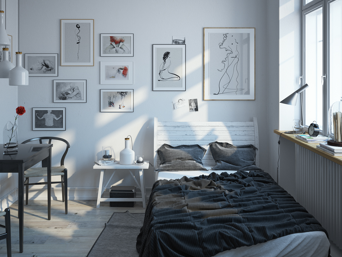 Scandinavian bedroom design for woman with a white color for Designer inspired bedding
