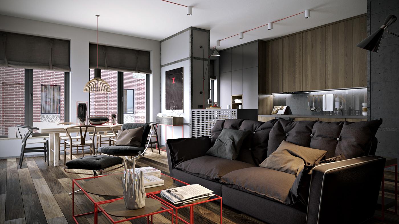 Black furniture small apartment interior color