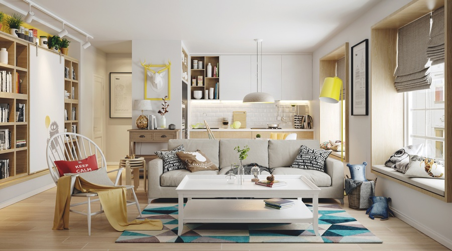 Nordic living room interior design bring out a cheerful Decorating with yellow and blue