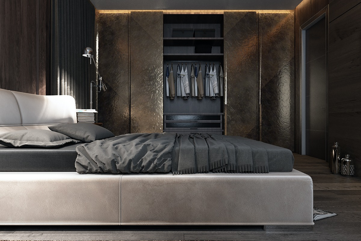 3 amazing dark bedroom interior design roohome designs for Male apartment bedroom ideas