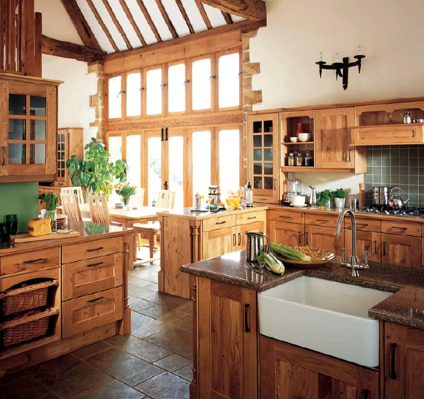 Country style kitchen ideas with compact layouts roohome for Country kitchen designs layouts